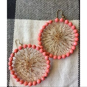 Francesca's Coral Beaded + Gold Wired Large Hoops